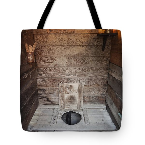 Tote Bag featuring the photograph Outhouse Interior by Bryan Mullennix