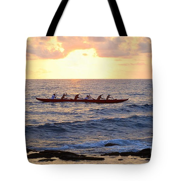 Outrigger Canoe At Sunset In Kailua Kona Tote Bag by Catherine Sherman