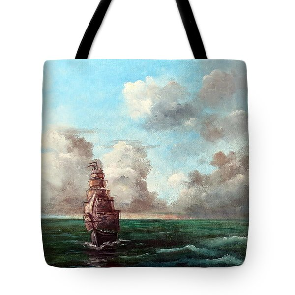 Tote Bag featuring the painting Outrunning The Storm by Lee Piper