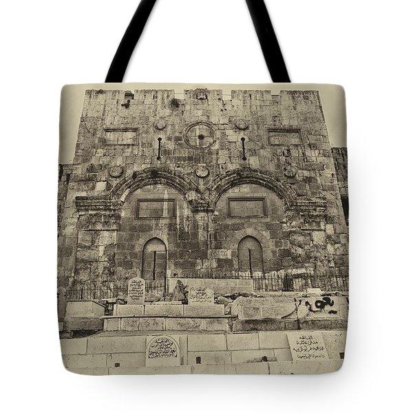 Outside The Eastern Gate Old City Jerusalem Tote Bag