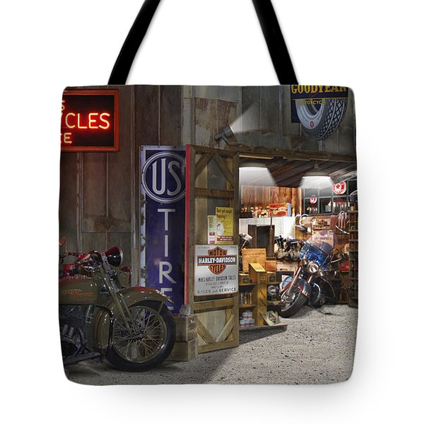 Outside The Motorcycle Shop Tote Bag