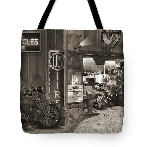 Outside The Old Motorcycle Shop - Spia Tote Bag