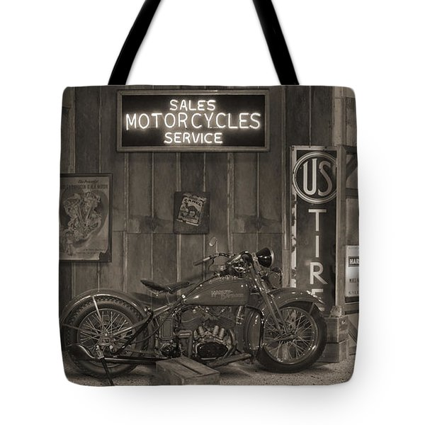 Outside The Old Motorcycle Shop - Spia Tote Bag by Mike McGlothlen