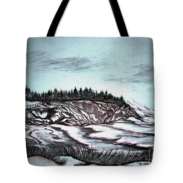 Tote Bag featuring the drawing Oven's Park Nova Scotia by Janice Rae Pariza