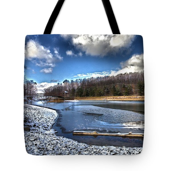 Tote Bag featuring the photograph Over Da River N Thru Da Woods by Robert McCubbin