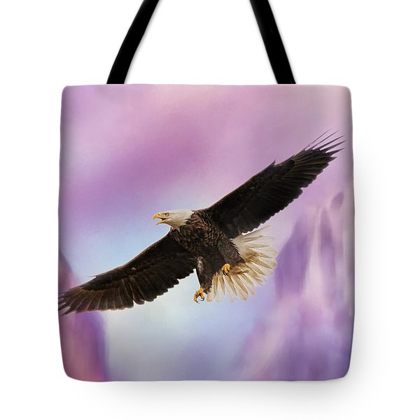 Over The Purple Mountains - Bald Eagle Tote Bag