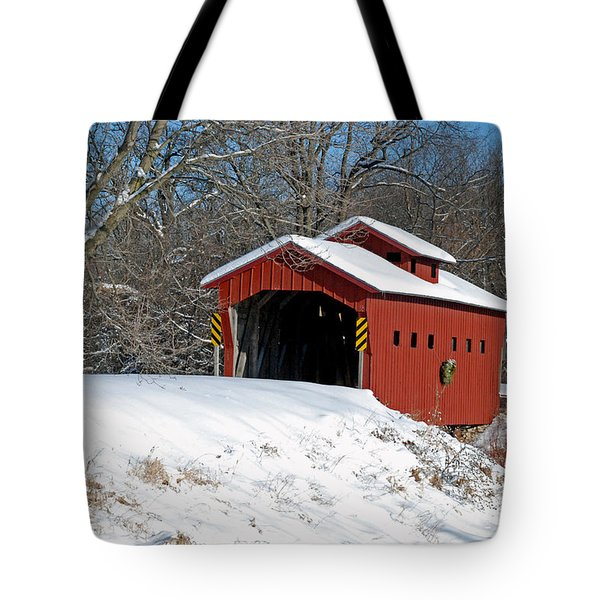 Over The River ..we Go Tote Bag by Janice Adomeit