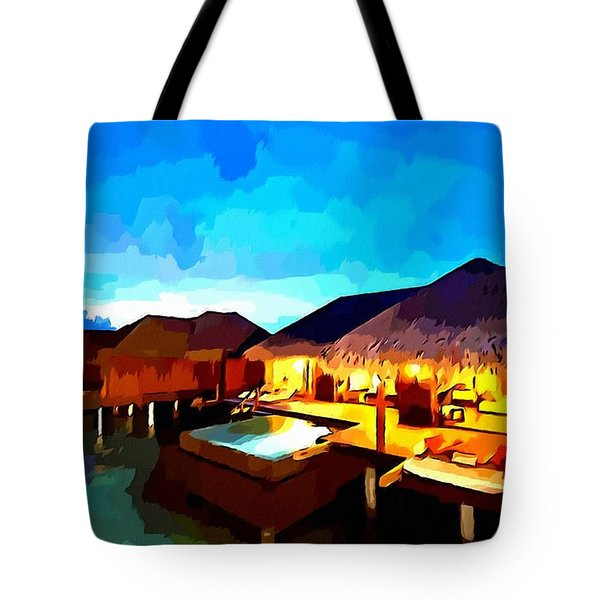 Over Water Bungalows Tote Bag