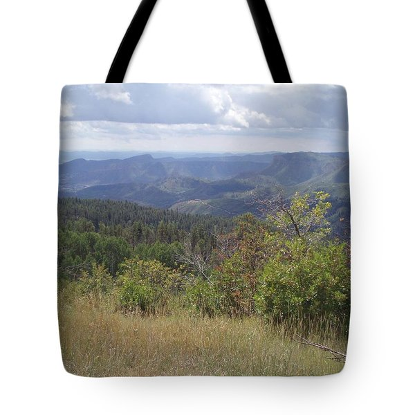 Tote Bag featuring the photograph Overlook Into The Mist by Fortunate Findings Shirley Dickerson