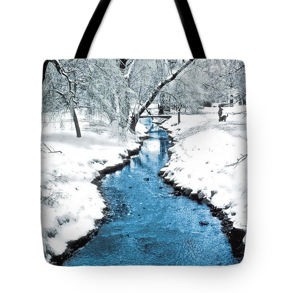 Overnight Snow In Edgemont Park Tote Bag