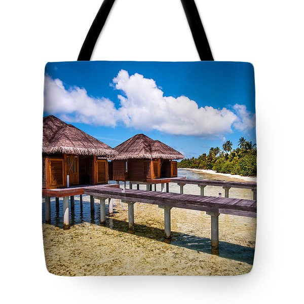 Overwater Spa Villas. Maldives Tote Bag by Jenny Rainbow