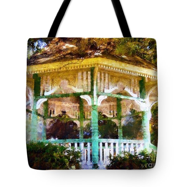 Owego Gazebo Courthouse Square Park Tote Bag by Janine Riley