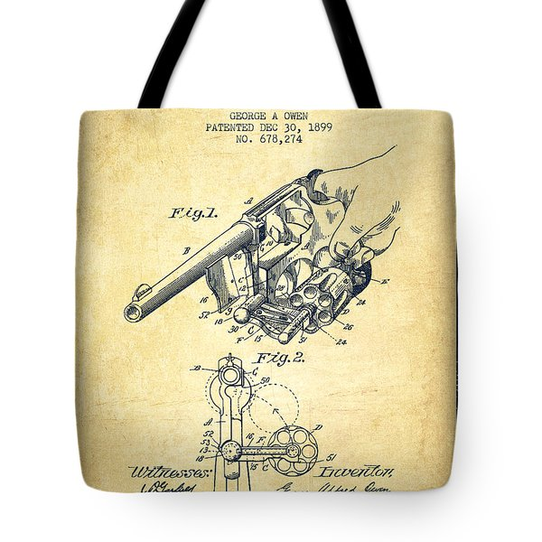 Owen Revolver Patent Drawing From 1899- Vintage Tote Bag by Aged Pixel