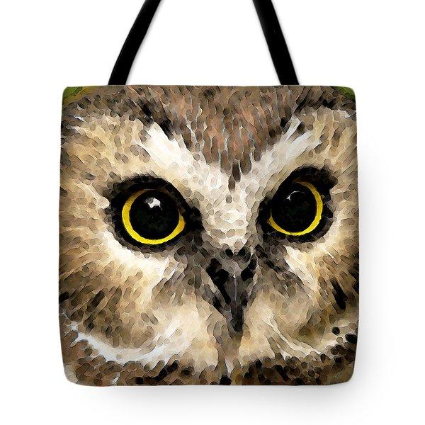 Owl Art - Night Vision Tote Bag by Sharon Cummings