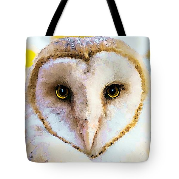 Owl Art - Soft Love Tote Bag by Sharon Cummings