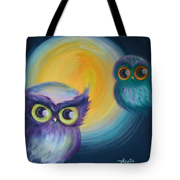 Tote Bag featuring the painting Owl Be Watching You by Agata Lindquist