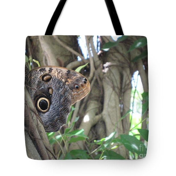 Owl Butterfly In Hiding Tote Bag