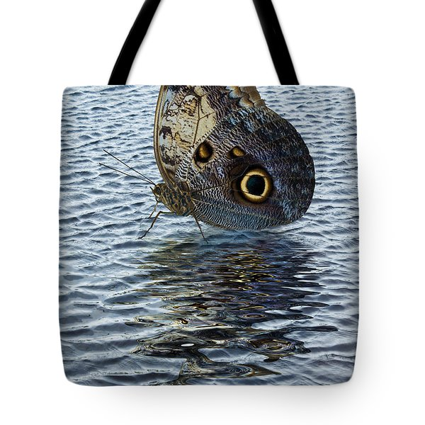 Tote Bag featuring the photograph Owl Butterfly On Water by Jane McIlroy