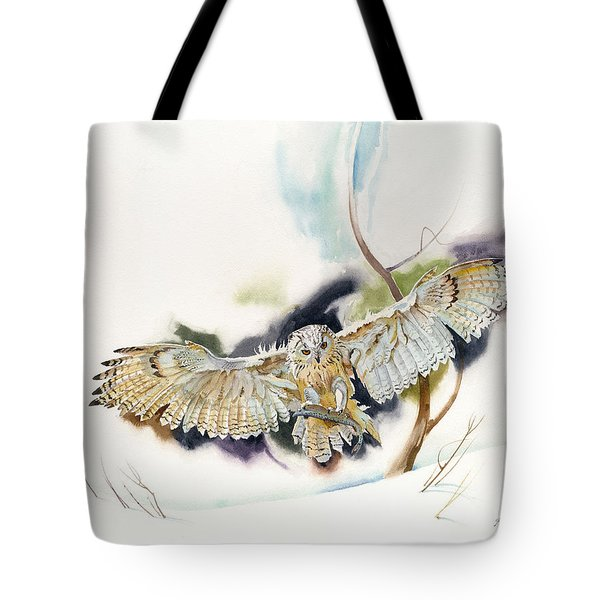 Tote Bag featuring the painting Owl Catches Lunch by John Norman Stewart