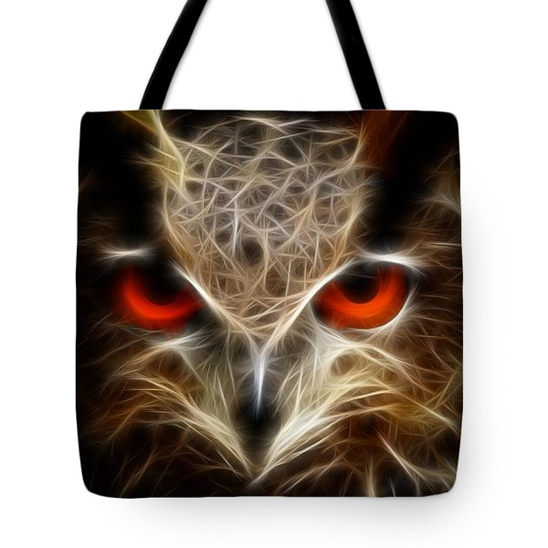 Tote Bag featuring the digital art Owl - Fractal Artwork by Lilia D