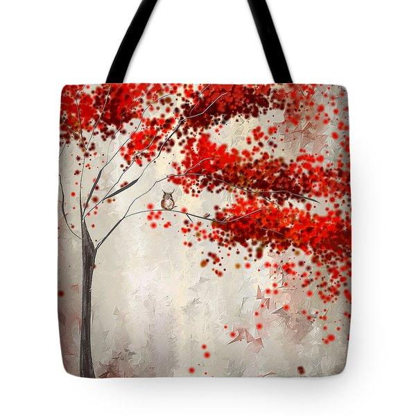Owl In Autumn Tote Bag