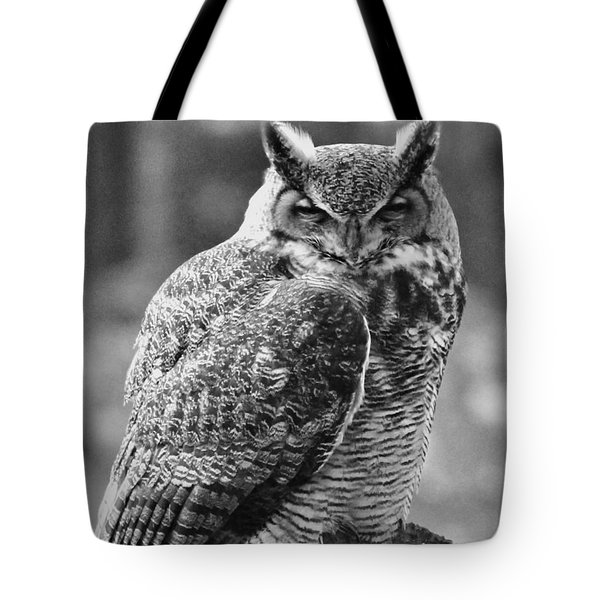 Owl In Black And White Tote Bag