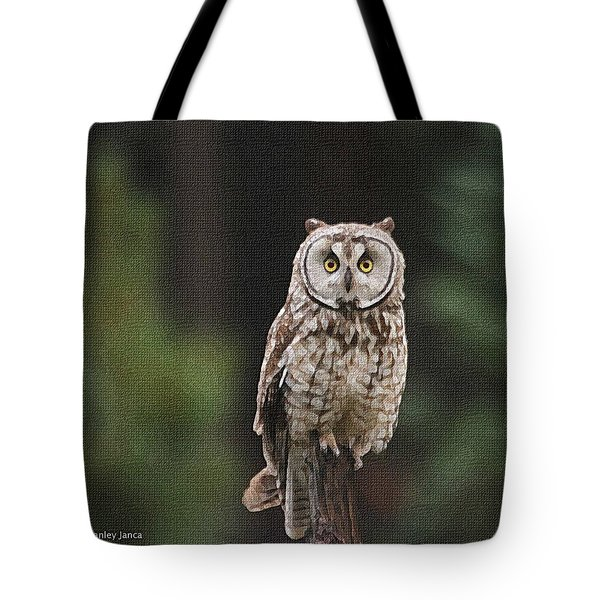 Tote Bag featuring the photograph Owl In The Forest Visits by Tom Janca
