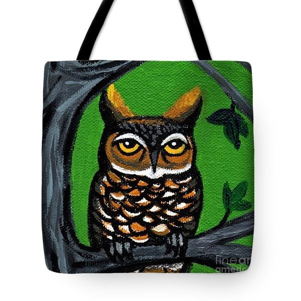 Owl In Tree With Green Background Tote Bag by Genevieve Esson