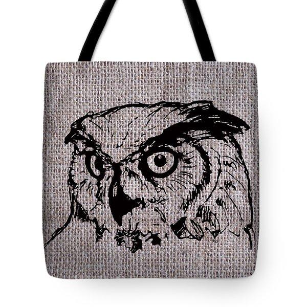 Owl On Burlap Tote Bag