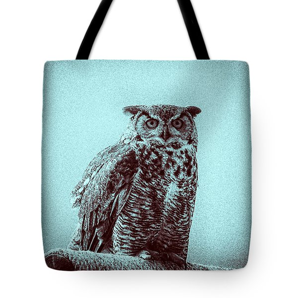 Owl On Perch Tote Bag