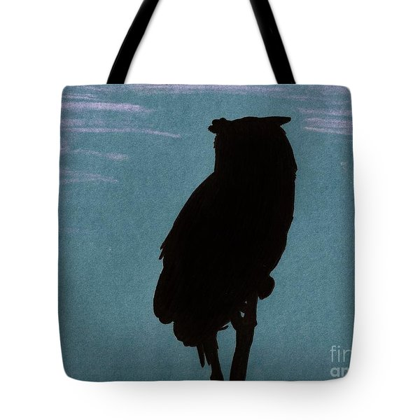 Tote Bag featuring the drawing Owl Silhouette by D Hackett