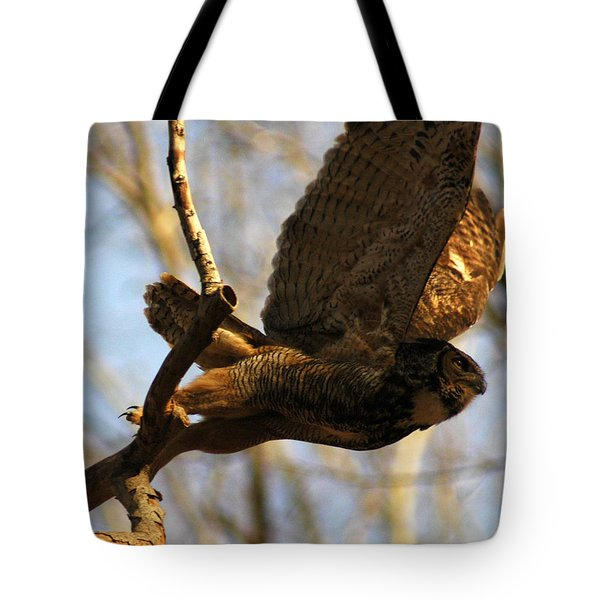Owl Take Off Tote Bag by Raymond Salani III