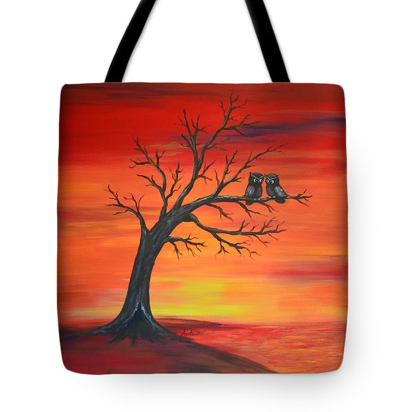Tote Bag featuring the painting Owl Tell You Something by Agata Lindquist