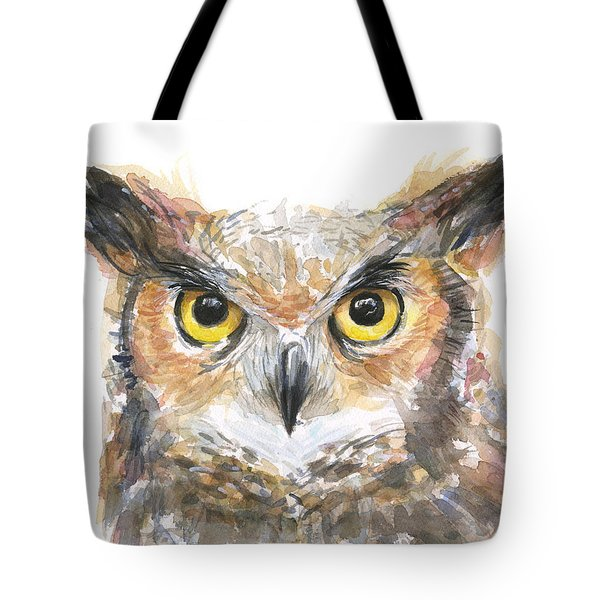Owl Watercolor Portrait Great Horned Tote Bag