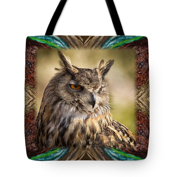 Owl With Collage Border Tote Bag by Janis Knight