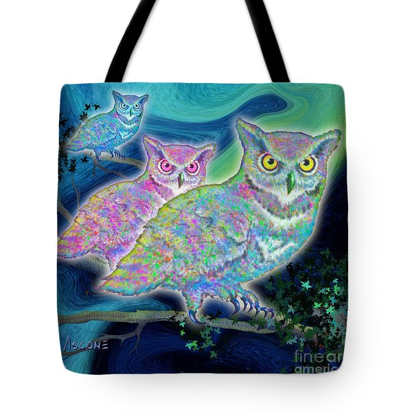 Tote Bag featuring the painting Owls At Midnight  Square by Teresa Ascone