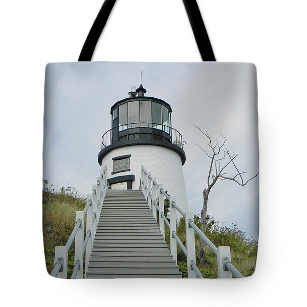 Owls Head Lighthouse Tote Bag by Jean Goodwin Brooks