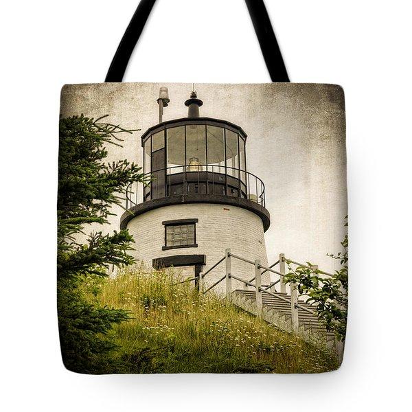 Owls Head Lighthouse Tote Bag by Joan Carroll