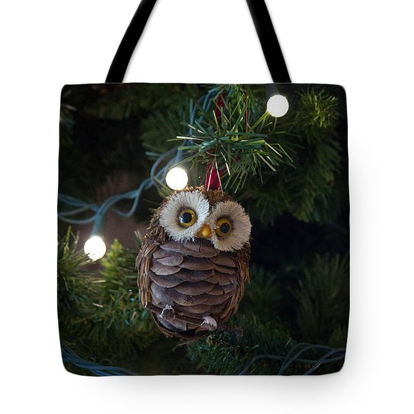 Owly Christmas Tote Bag by Patricia Babbitt