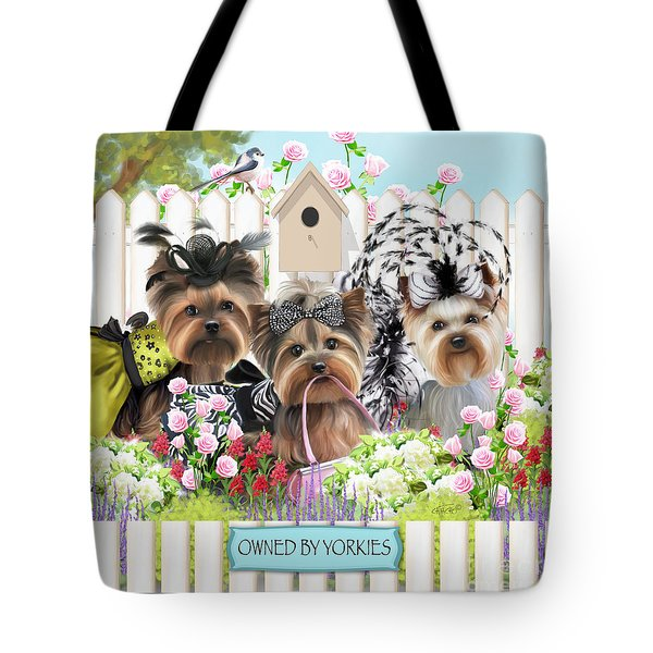 Owned By Yorkies II Tote Bag by Catia Cho