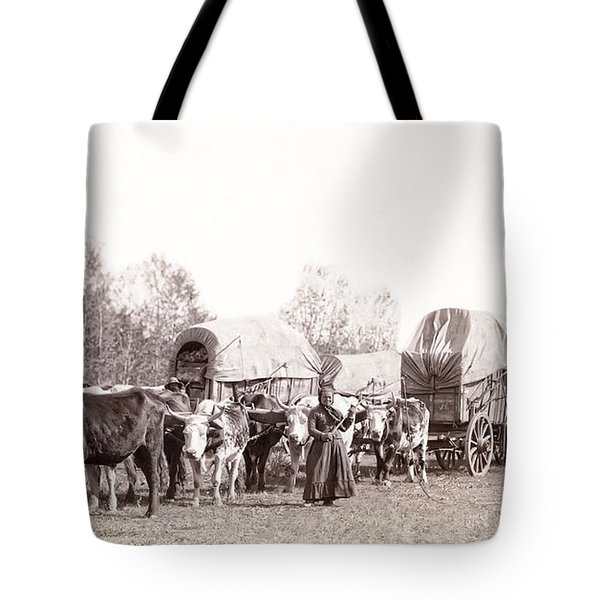 Ox-driven Wagon Freight Train C. 1887 Tote Bag by Daniel Hagerman