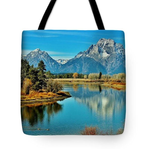 Tote Bag featuring the photograph Oxbow Autumn by Benjamin Yeager