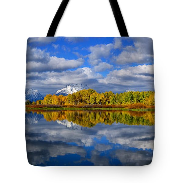 Oxbow Bend Peak Autumn Panorama Tote Bag