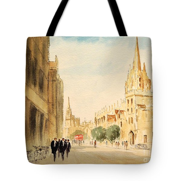 Tote Bag featuring the painting Oxford High Street by Bill Holkham