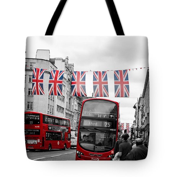 Oxford Street Flags Tote Bag by Matt Malloy