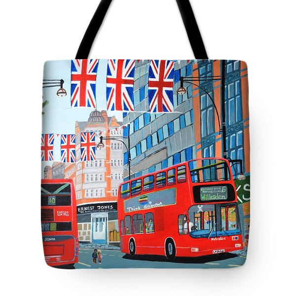Tote Bag featuring the painting Oxford Street- Queen's Diamond Jubilee  by Magdalena Frohnsdorff