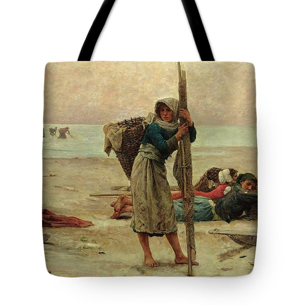 Oyster Catching Tote Bag by Pierre Celestin Billet