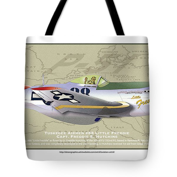 Tote Bag featuring the drawing P-51  by Kenneth De Tore