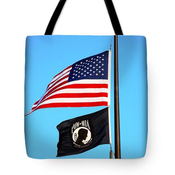 P O W   M I A Tote Bag by Charlie Brock