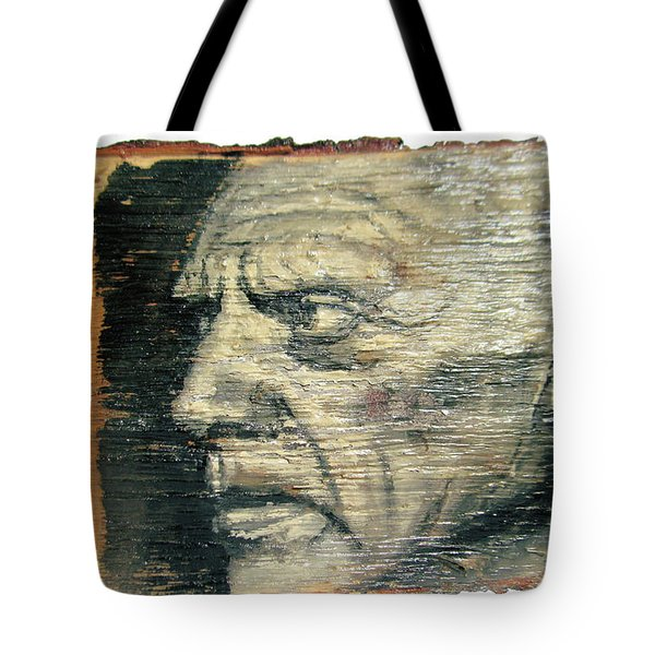 Pablo Picasso Face Portrait - Painting On The Wood Tote Bag by Nenad Cerovic